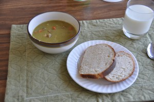 Basic White Bread and Pea Soup