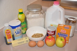 Raw Apple Bread Ingredients