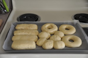 Raised Doughnuts, Maple Bars, and Dough Gobs After Second Rising